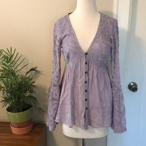 Xhilaration Lilac Boho Bell Sleeved Top
